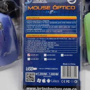Mouse Óptico J&R High Precisión 1.600 DPI MOJR-001