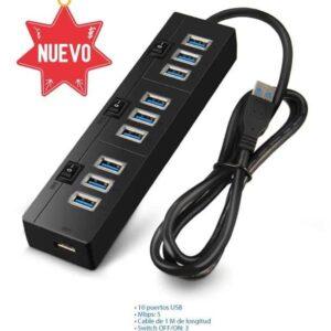 Multipuerto Hub 3.0 USB 10 puertos